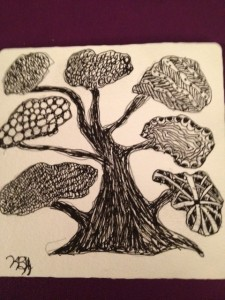jpg of a zentangle tree; pen and ink drawing